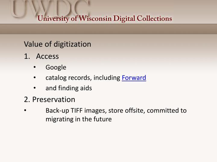 Value of digitization