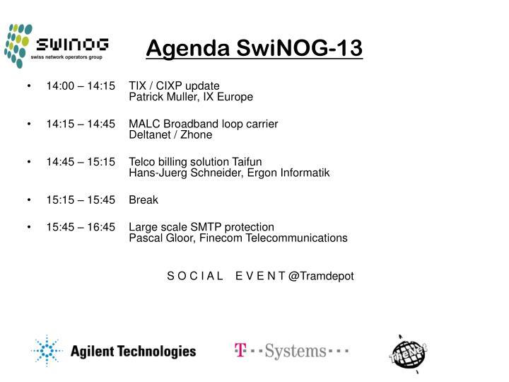 Agenda SwiNOG-13