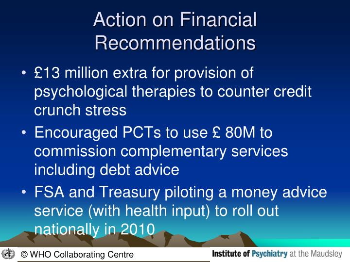Action on Financial Recommendations