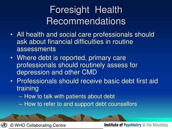 Foresight  Health Recommendations