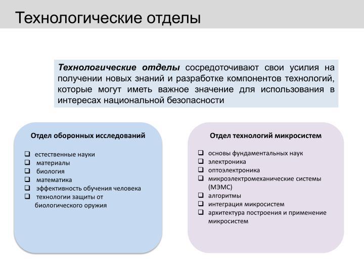 Технологические отделы