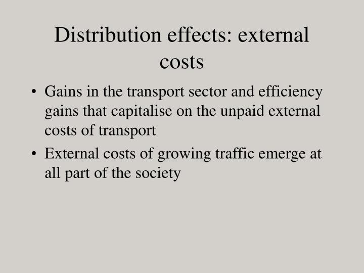 Distribution effects: external costs