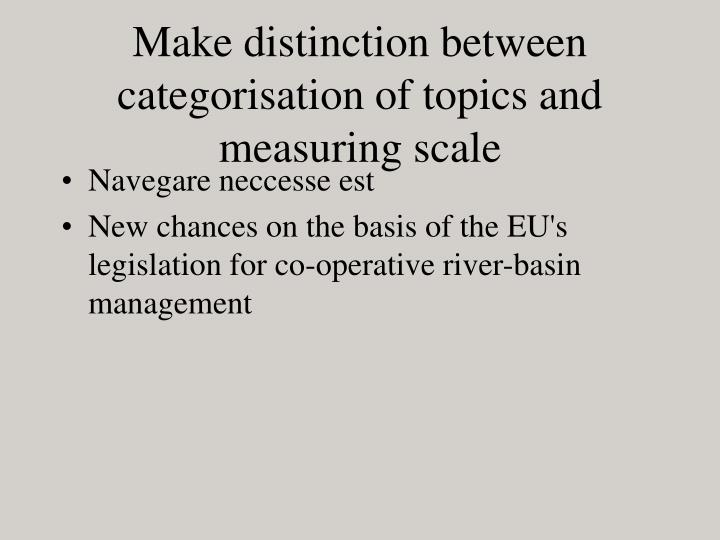 Make distinction between categorisation of topics and measuring scale