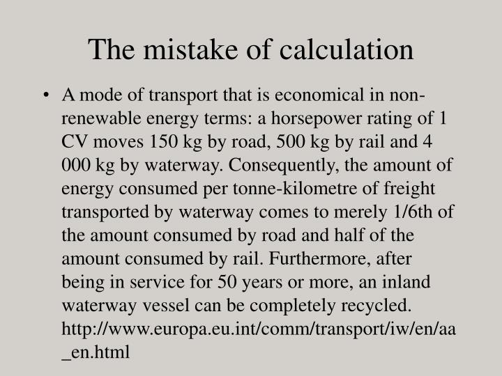 The mistake of calculation