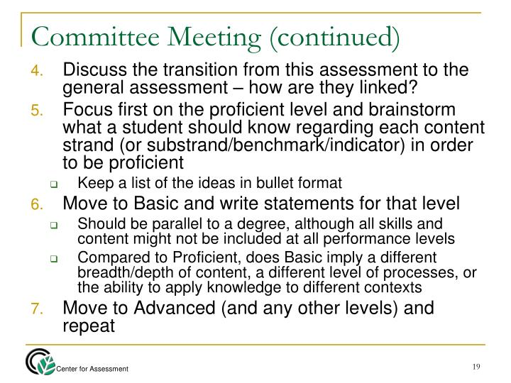 Committee Meeting (continued)