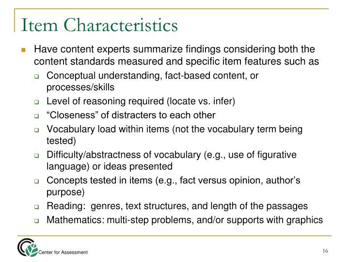 Item Characteristics