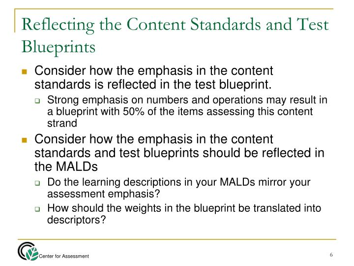 Reflecting the Content Standards and Test Blueprints