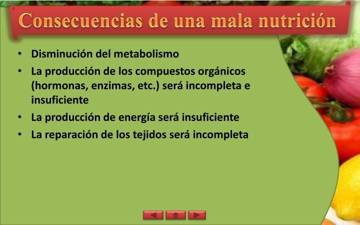Consecuencias de una mala nutrición