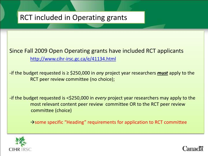 RCT included in Operating grants