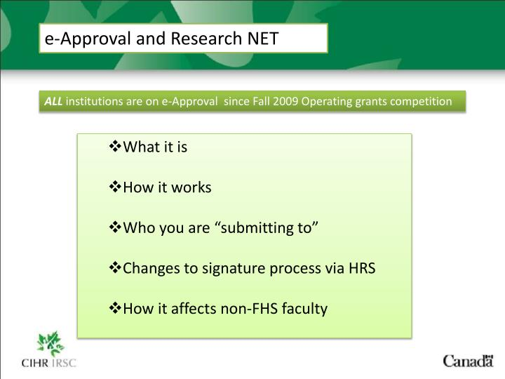 e-Approval and Research NET