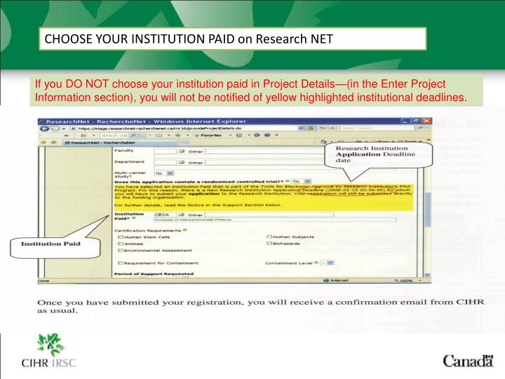 CHOOSE YOUR INSTITUTION PAID on Research NET