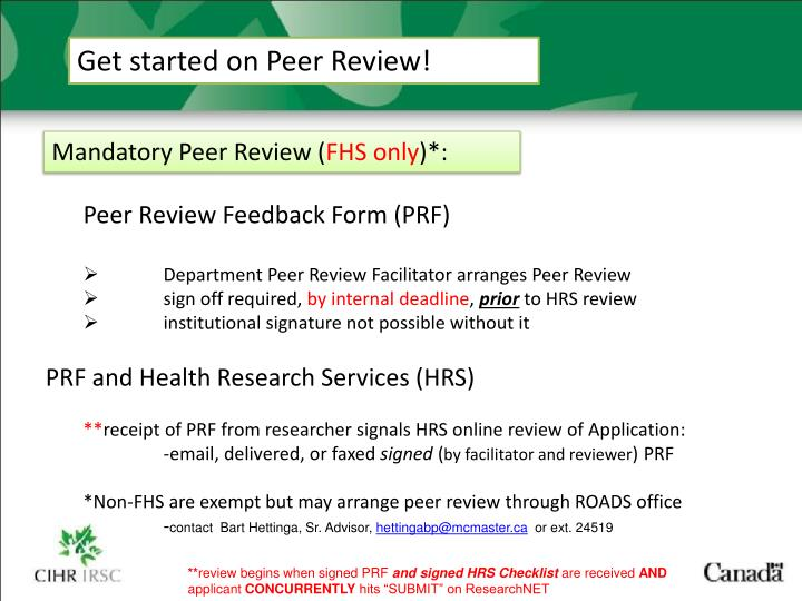 Get started on Peer Review!