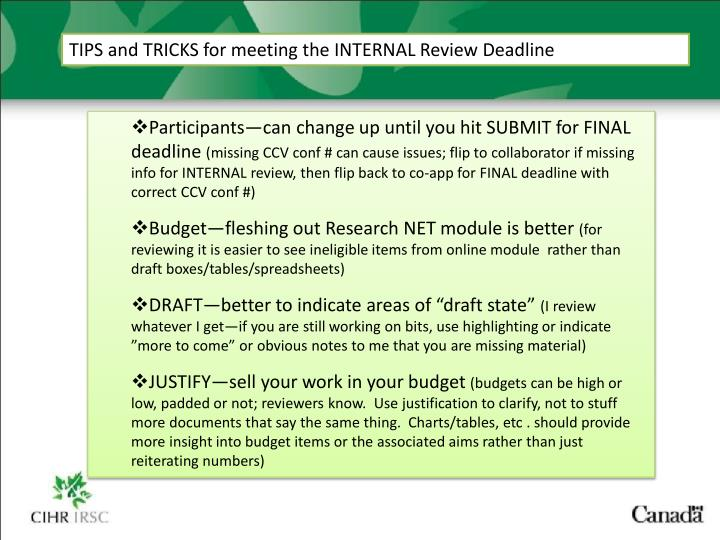 TIPS and TRICKS for meeting the INTERNAL Review Deadline