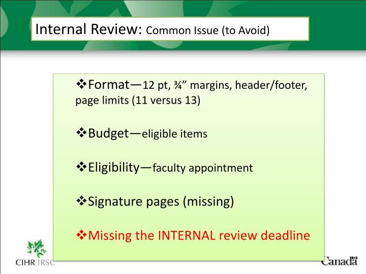 Internal Review: