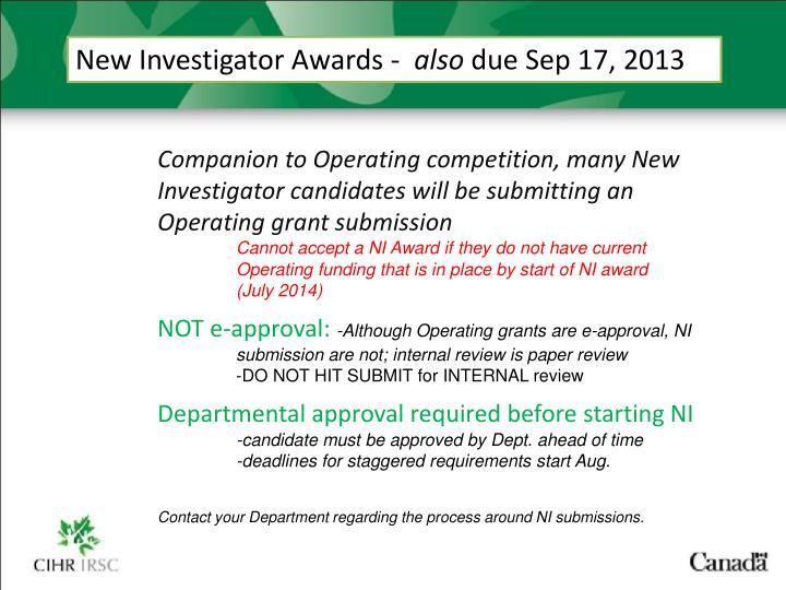 New Investigator Awards -