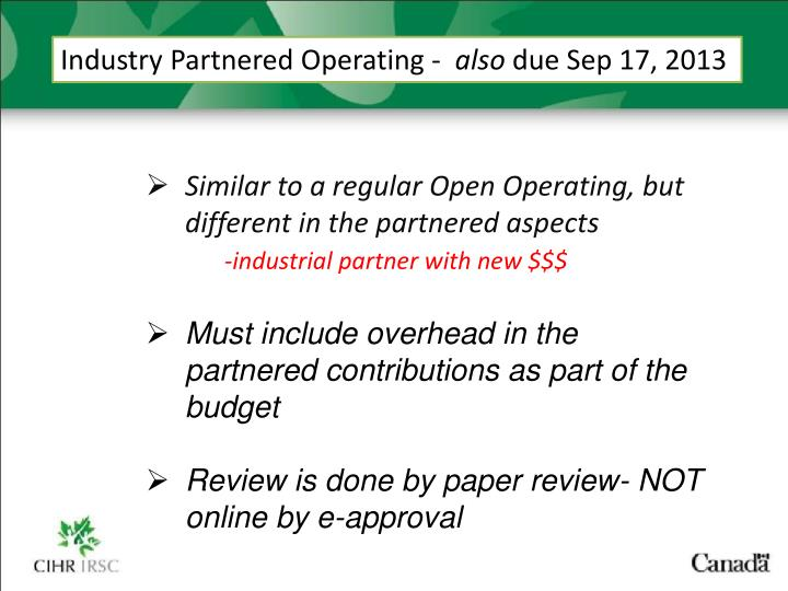 Industry Partnered Operating -