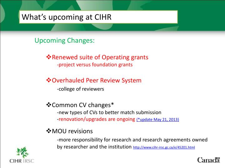 What's upcoming at CIHR