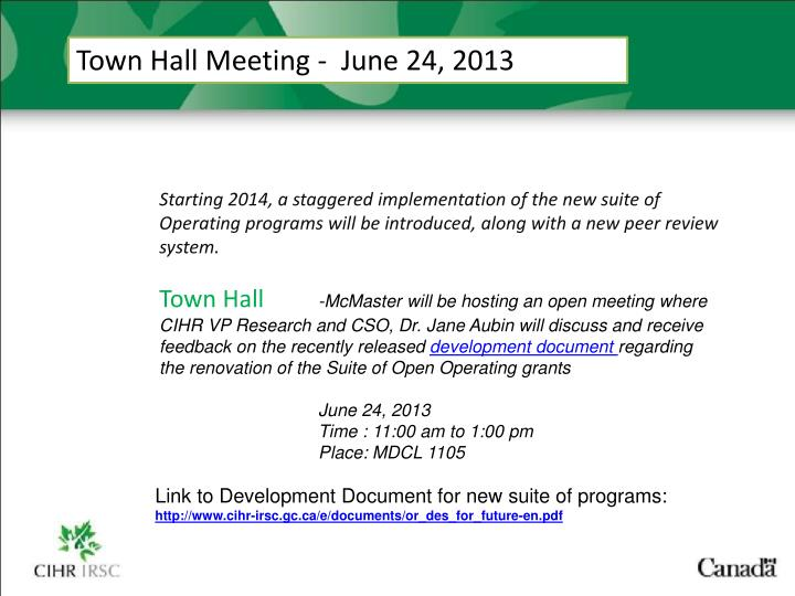 Town Hall Meeting -  June 24, 2013