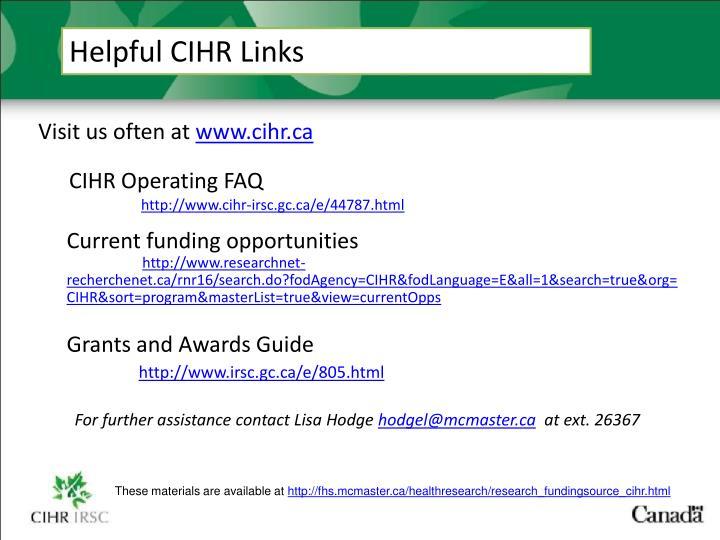 Helpful CIHR Links