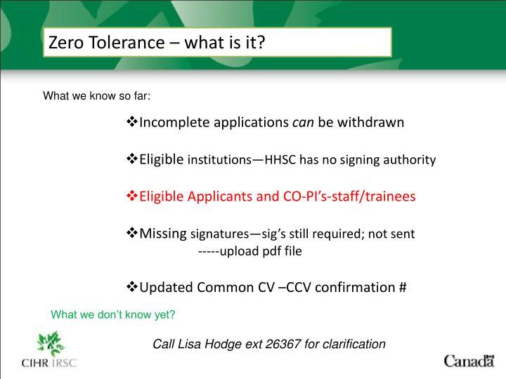 Zero Tolerance – what is it?