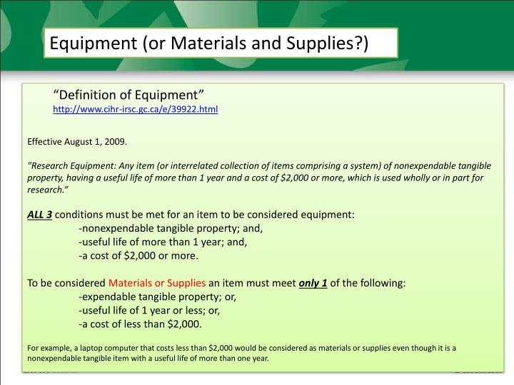 Equipment (or Materials and Supplies?)