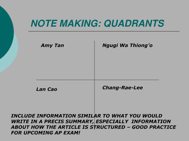 NOTE MAKING: QUADRANTS