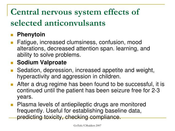 Central nervous system effects of selected anticonvulsants