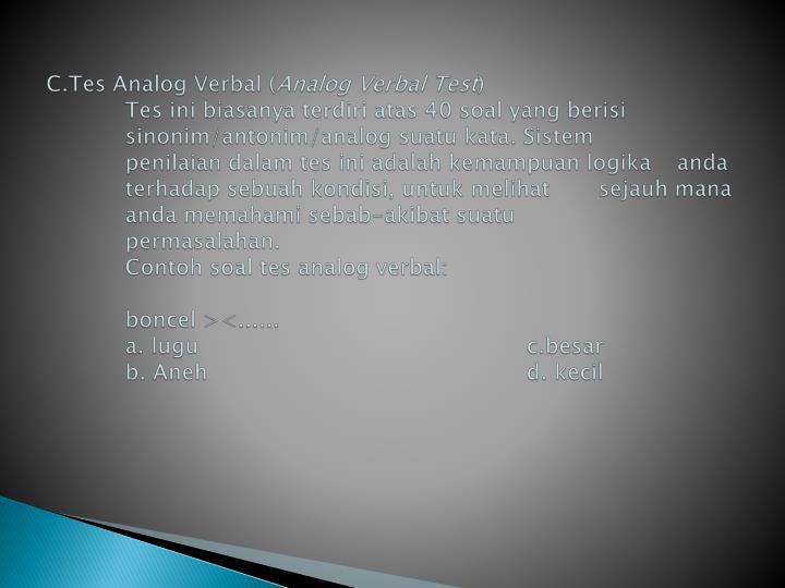 C.Tes Analog Verbal (