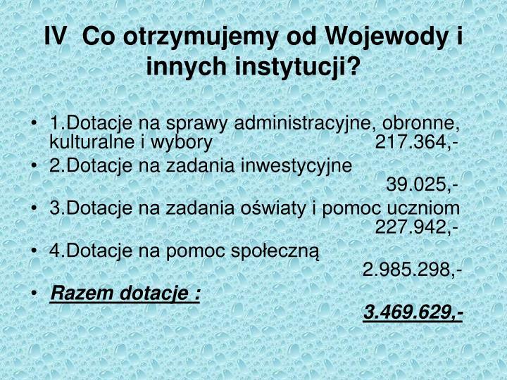 IV  Co otrzymujemy od Wojewody i innych instytucji?