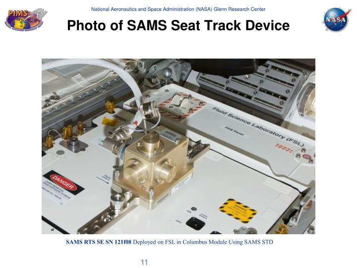 Photo of SAMS Seat Track Device