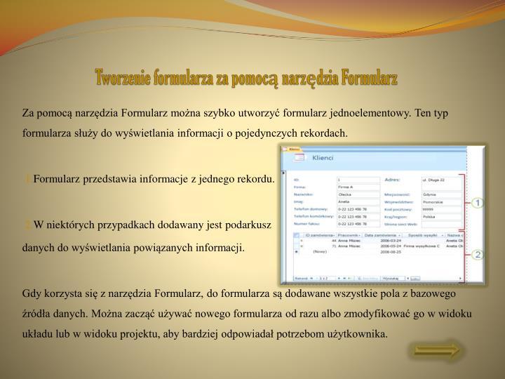 Tworzenie formularza za pomocą narzędzia Formularz