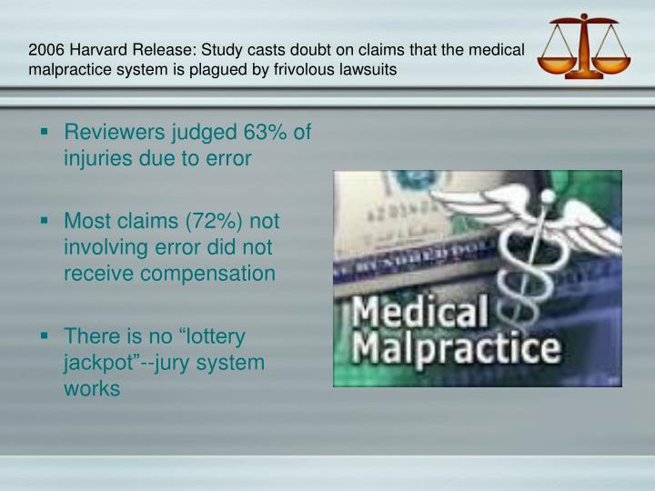 2006 Harvard Release: Study casts doubt on claims that the medical malpractice system is plagued by frivolous lawsuits