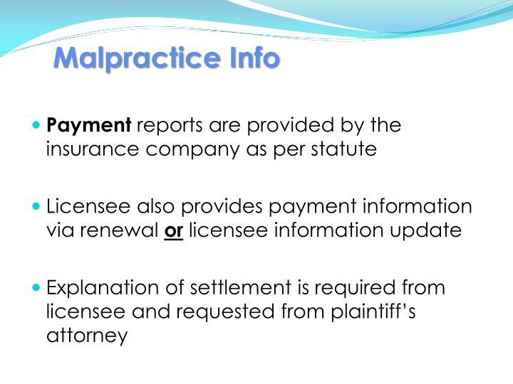 Malpractice Info
