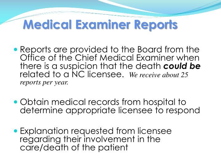 Medical Examiner Reports