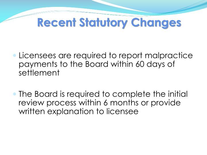 Recent Statutory Changes