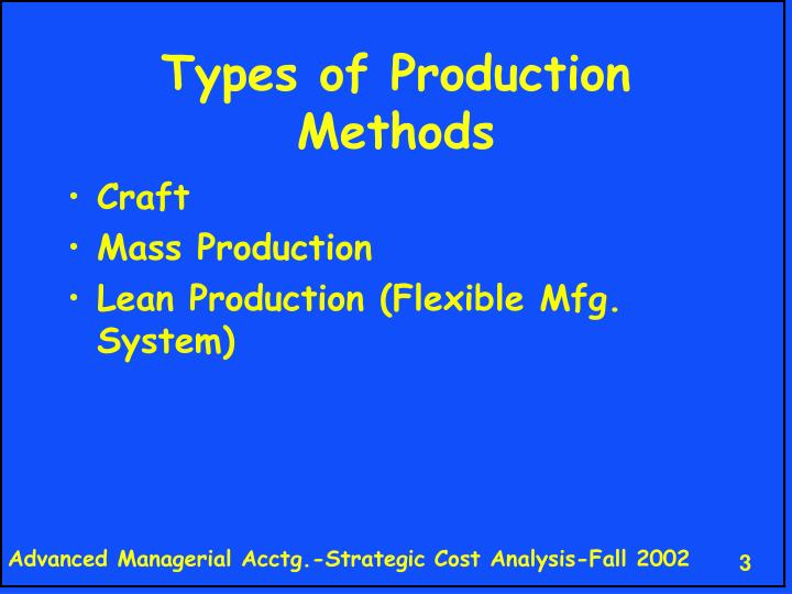 Types of Production Methods