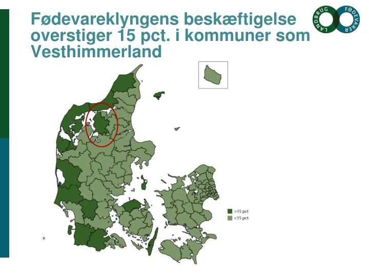 Fødevareklyngens beskæftigelse overstiger 15 pct. i kommuner som Vesthimmerland