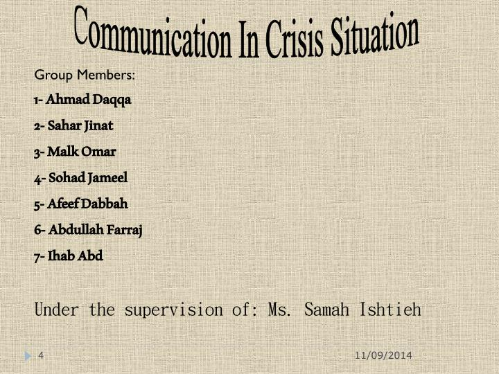 Communication In Crisis Situation