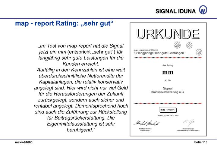 """map - report Rating: """"sehr gut"""""""