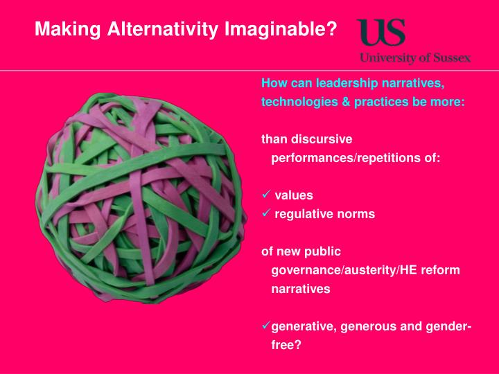 Making Alternativity Imaginable?