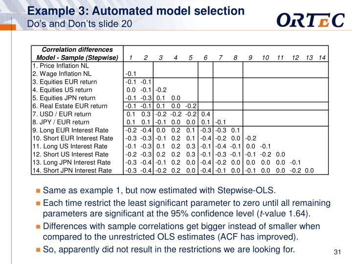 Example 3: Automated model selection