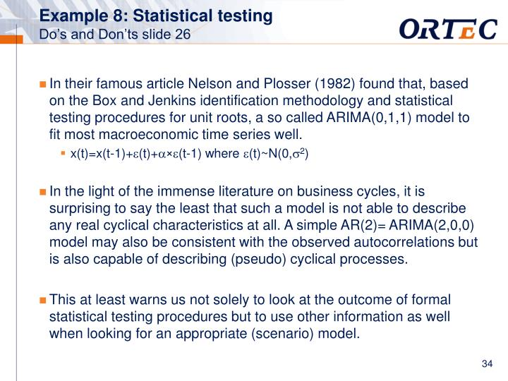 Example 8: Statistical testing