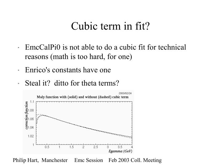 Cubic term in fit?
