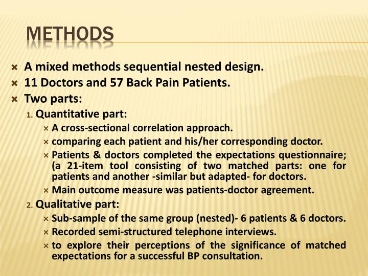 A mixed methods sequential nested design.
