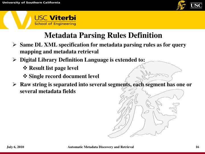Metadata Parsing Rules Definition
