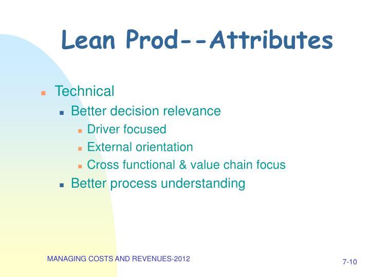 Lean Prod--Attributes