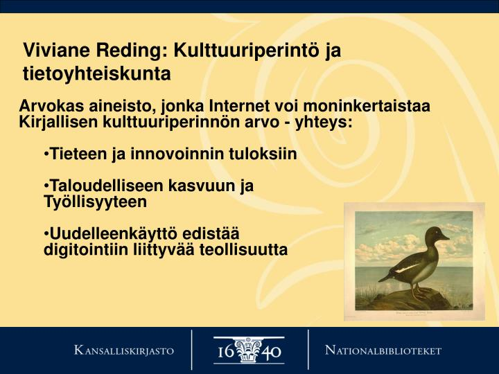 Viviane Reding: Kulttuuriperintö ja tietoyhteiskunta