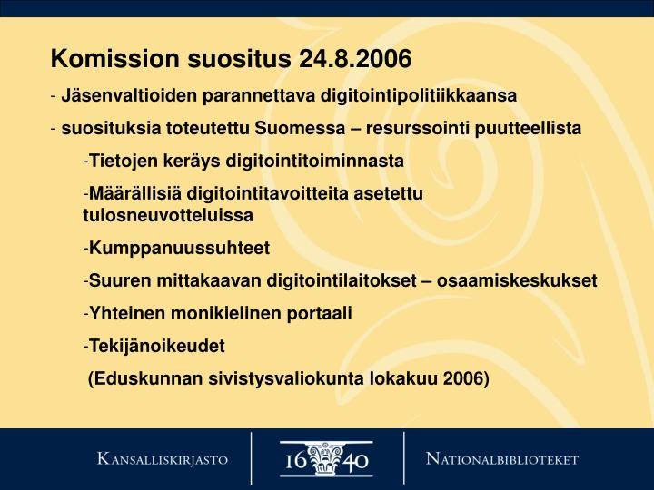 Komission suositus 24.8.2006