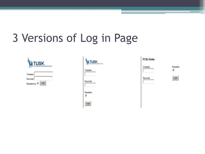 3 Versions of Log in Page