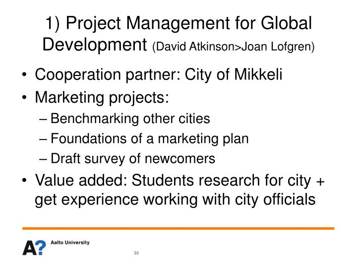 1) Project Management for Global Development